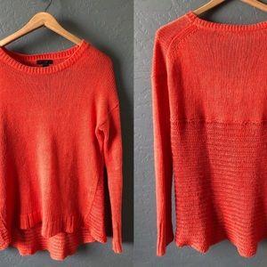 J. Crew Orange Linen high Low Crewneck Sweater